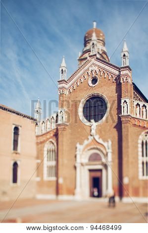 Tilt Shift Photo Of View Of Santa Maria D`oro In Venice. Soft Focus
