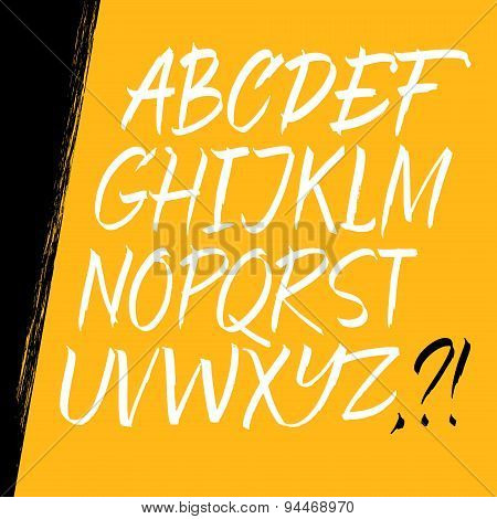 Alphabet letters: uppercase. Expressive writing. Vector alphabet. Hand drawn letters.