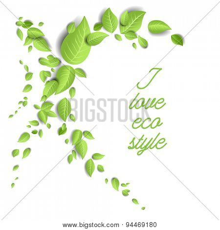 Eco style design for leaflet, cards, invitation and so on. Vector green leaves with place for text.