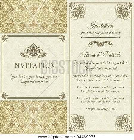 Baroque invitation, gold, brown and beige