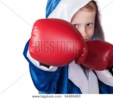 Close Up Little Boy Portrait In Boxing Gloves