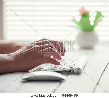 Woman Hand On The Pc Keyboard