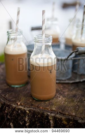 Homemade ice coffee with paper straws