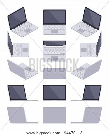 Isometric gray laptop