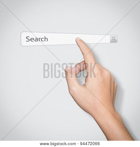 Finger Click On Search Www Toolbar Browser Isolated White Background