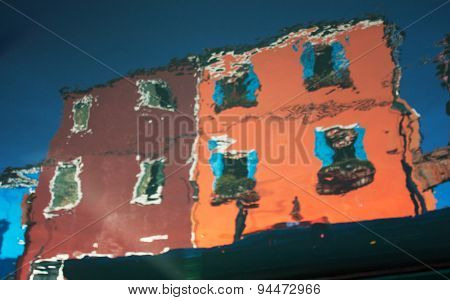 Abstract Reflection Of Burano Island In The Water