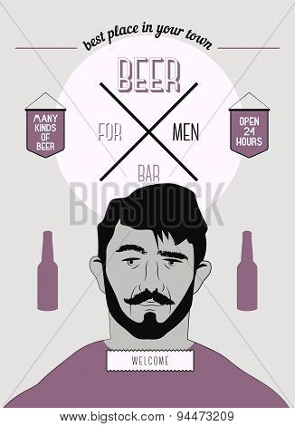 Beer Bar For Men. Vintage style beer bar poster. Vector illustration.