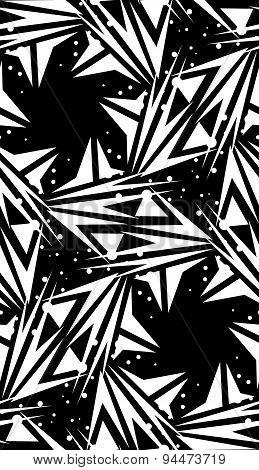 Spinning Black Star Shape Pattern