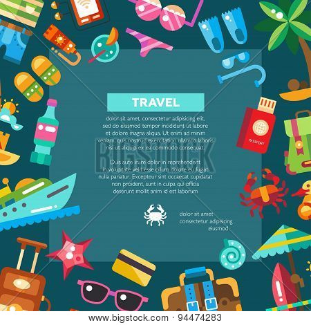 Flyer of modern flat design seaside travel vacation icons and infographics elements