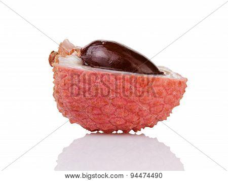 half lychee fruit isolated on white