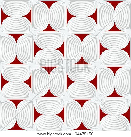 3D White Striped Semi Circles With Red