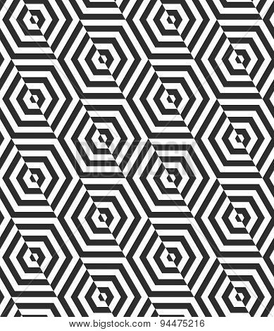 Alternating Black And White Diagonally Cut Hexagons