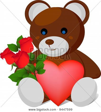 plush bear with heart and rose bouquet