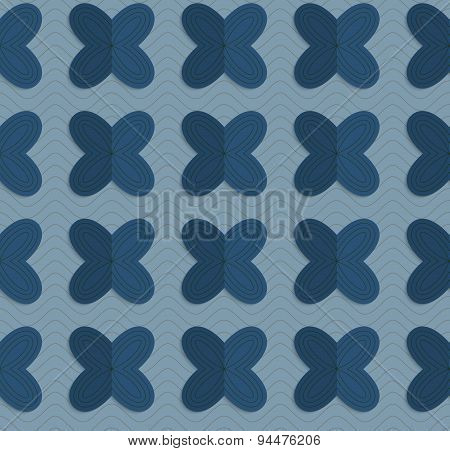 Retro Fold Blue Four Pedal Flowers On Waves