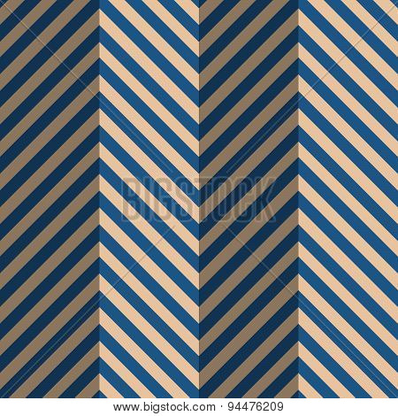 Retro Fold Blue Striped Zigzag