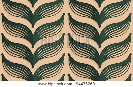 Retro Fold Deep Green Striped Leaves