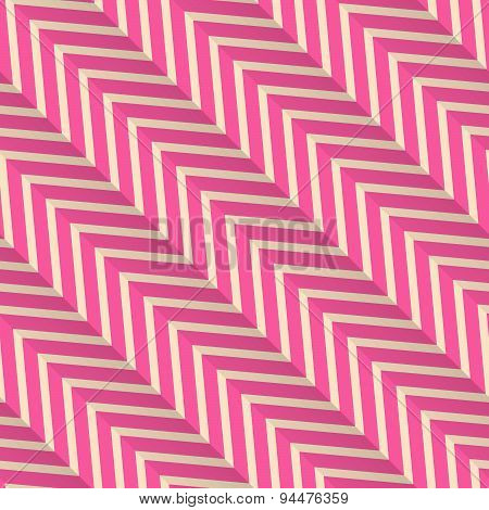 Retro Fold Magenta Diagonal Striped Zigzag