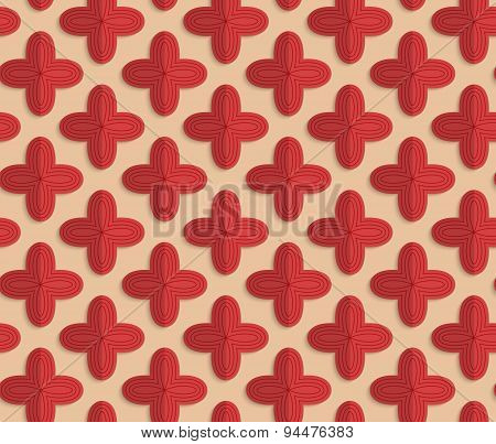Retro Fold Red Four Pedal Flowers