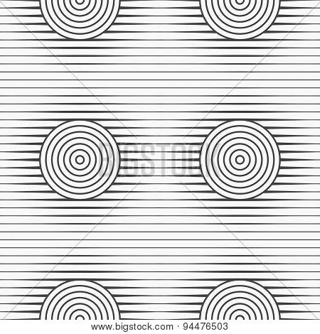 Slim Gray Offset Circles On Stripes