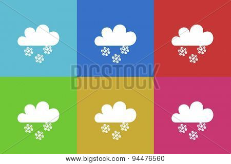 snow vector flat web icons set  original modern design for web and mobile app