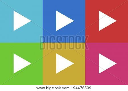play vector flat web icons set  original modern design for web and mobile app