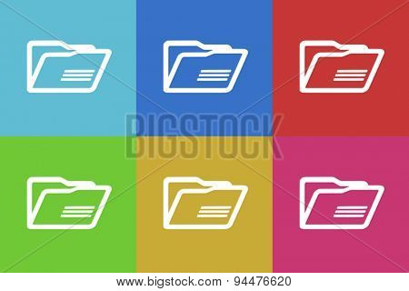 folder vector flat web icons set  original modern design for web and mobile app