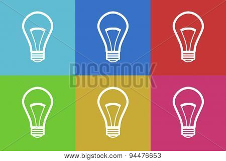 bulb vector flat web icons set  original modern design for web and mobile app