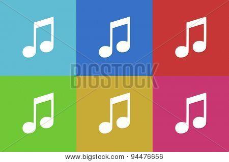 music vector flat web icons set  original modern design for web and mobile app