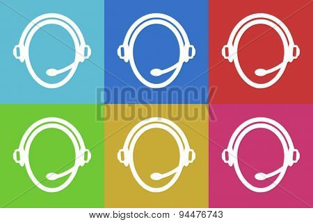 customer service vector flat web icons set  original modern design for web and mobile app