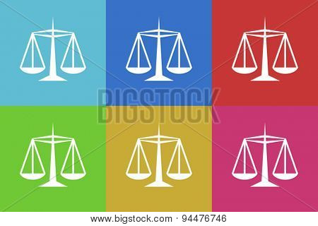 justice vector flat web icons set  original modern design for web and mobile app