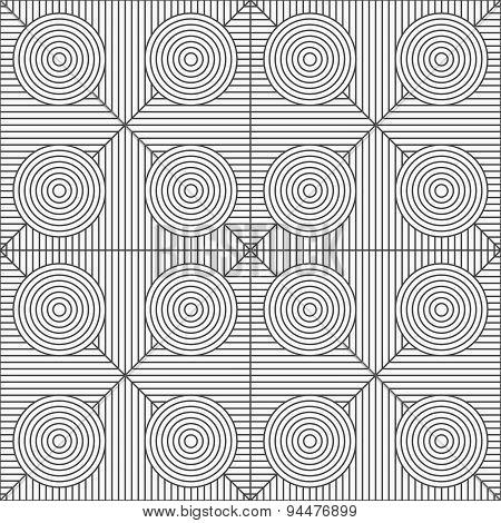 Slim Gray Stripes Circles On Striped Triangles