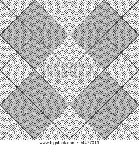 Slim Gray Wavy Striped Squares