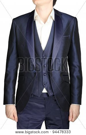 Unfastened Navy Blue Weddings Grooms Attire, Jacket Suit, Waistcoat.