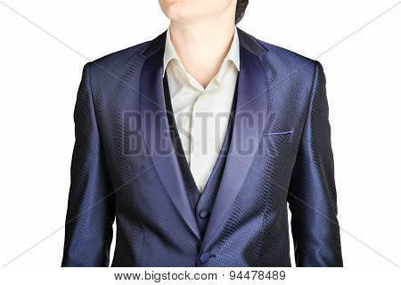 Close-up Dark Blue Mens Blazer Wedding Clothing, Over White