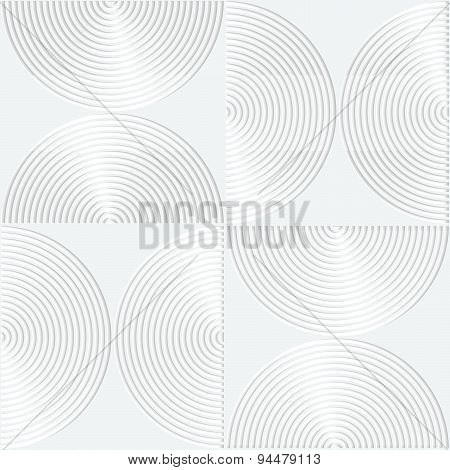 White Paper 3D Striped Semi Circles