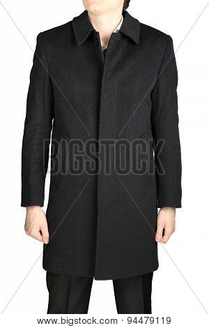 Man Gray Wool Coat, Isolated On A White Background.