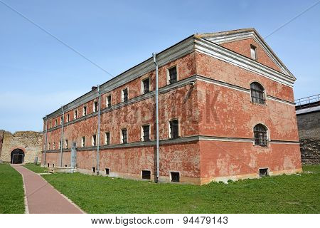 Old Prison Building In Oreshek Fortress, Shlisselburg City, Saint-petersburg District