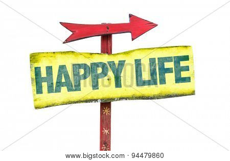 Happy Life sign isolated on white