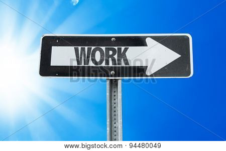 Work direction sign with a beautiful day