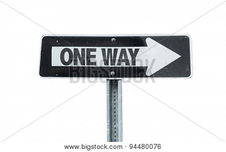 One Way direction sign isolated on white