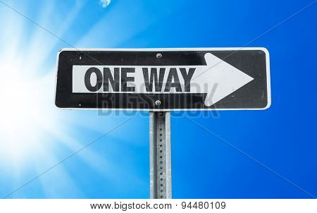 One Way direction sign with a beautiful day
