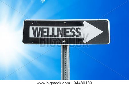 Wellness direction sign with a beautiful day