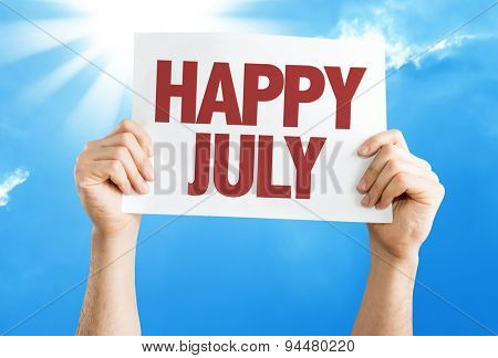 Happy July card with sky background