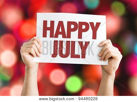 Happy July card with bokeh background