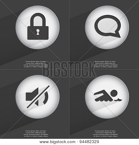 Lock, Chat Bubble, Mute, Swimmer Icon Sign. Set Of Buttons With A Flat Design. Vector