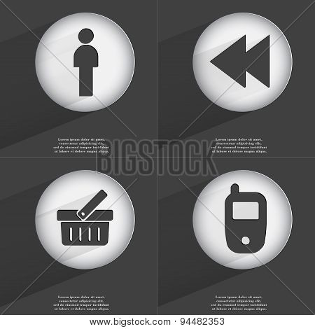Silhouette, Rewind, Basket, Mobile Phone Icon Sign. Set Of Buttons With A Flat Design. Vector