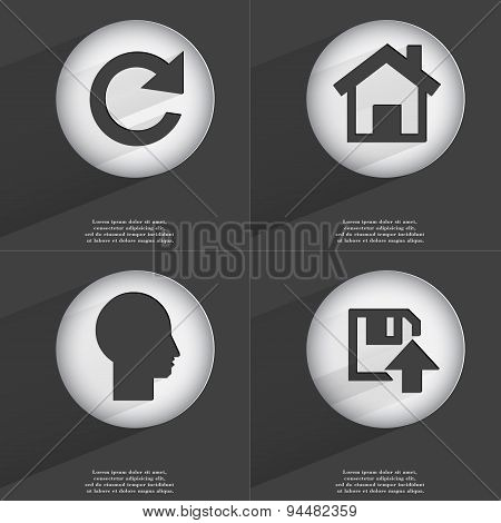 Reload, House, Silhouette, Floppy Disk Upload Icon Sign. Set Of Buttons With A Flat Design. Vector
