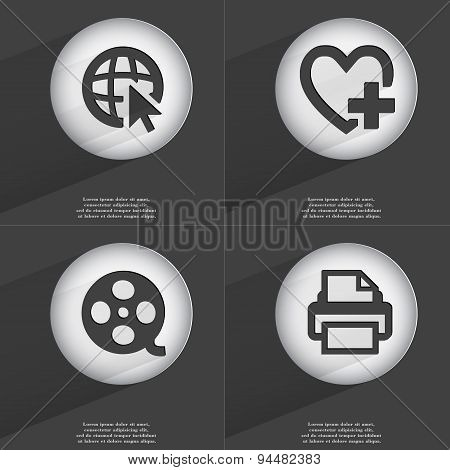 Web With Cursor, Heart With Plus, Videotape, Printer Icon Sign. Set Of Buttons With A Flat Design. V
