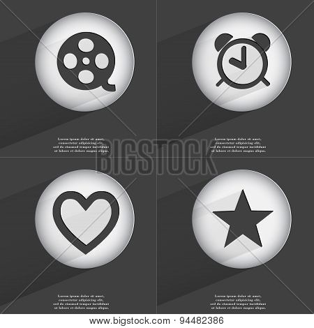 Videotape, Alarm Clock, Heart, Star Icon Sign. Set Of Buttons With A Flat Design. Vector