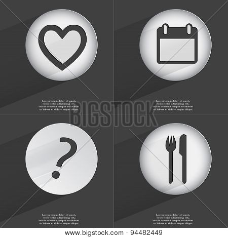 Heart, Calculator, Question Mark, Fork And Knife Icon Sign. Set Of Buttons With A Flat Design. Vecto